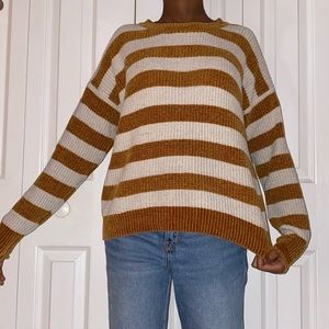 Brown and White Striped Sweater PRICE FIRM